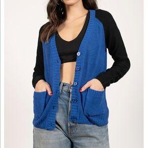 Tobi Cobalt blue/Black Cardigan with pockets